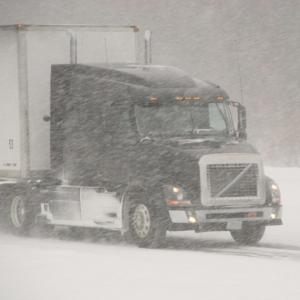 Freight Truck Snowy Conditions